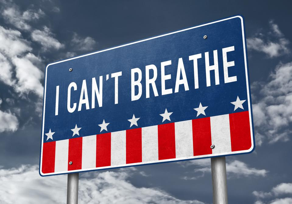 I can not breathe - roadsign message against police brutality