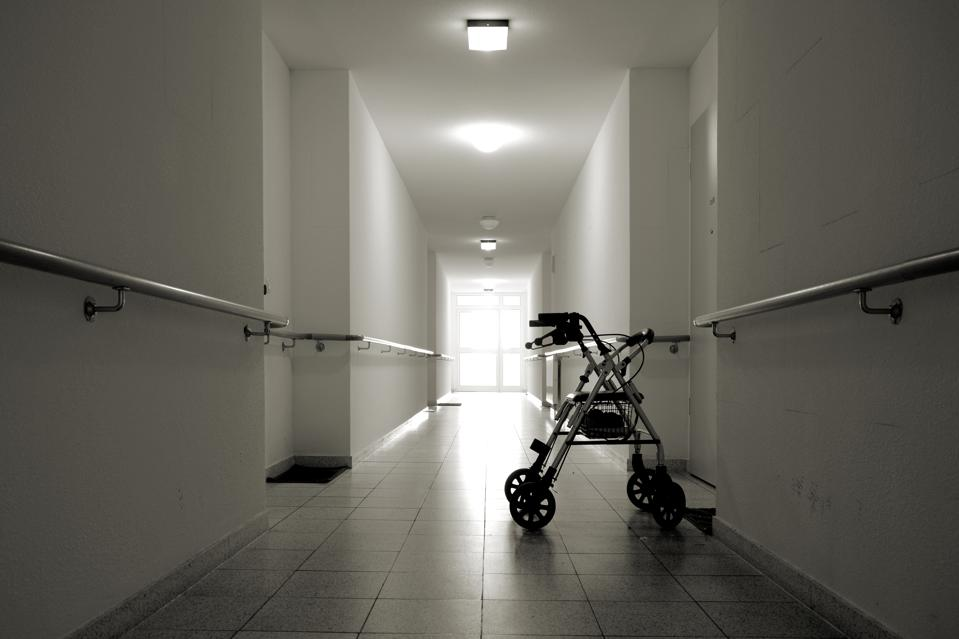 Corridor with walker in a nursing home