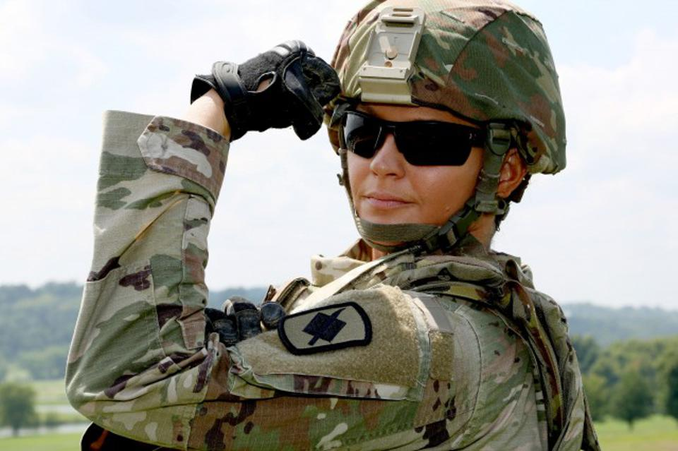 ″Capt. April Bruner is the first female commander of a rifle company in the Missouri National Guard″