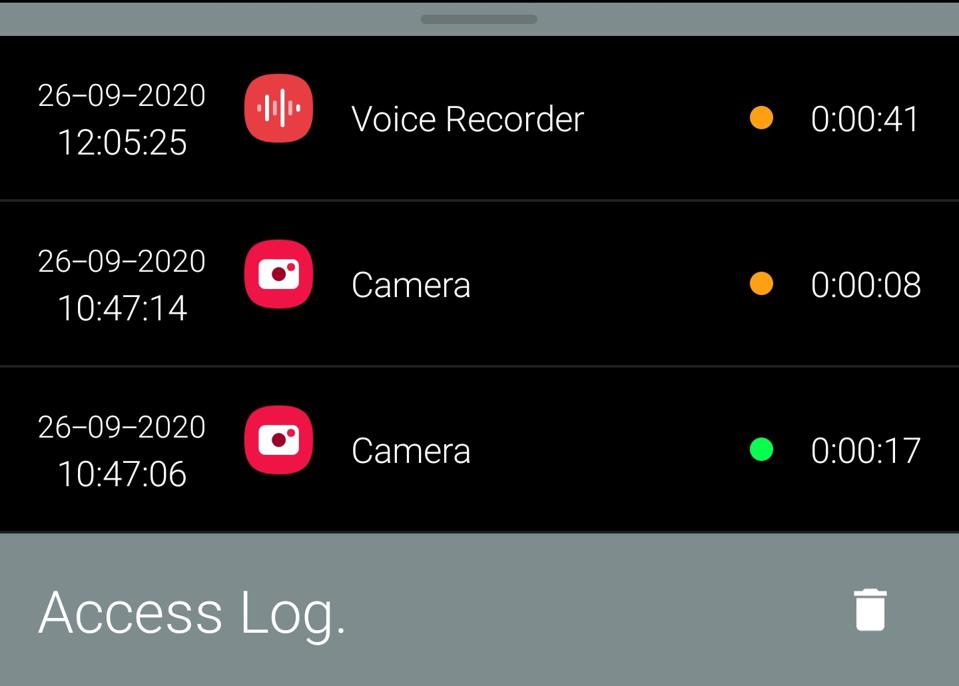 The logs screen of the Access Dots Android app