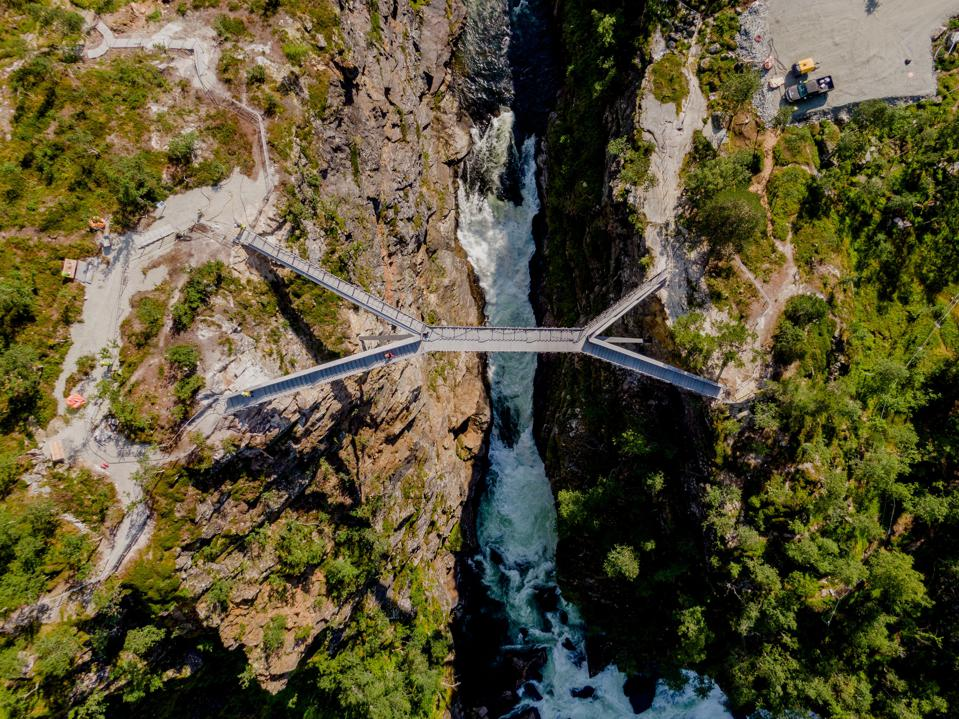An aerial perspective on the new bridge at Norway's Vøringsfossen waterfall.