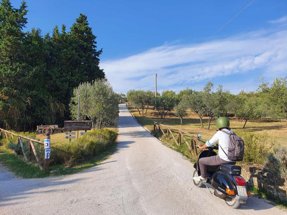 Man rides Vespa along country road Tuscany Italy during Chianti Classico wine festivals