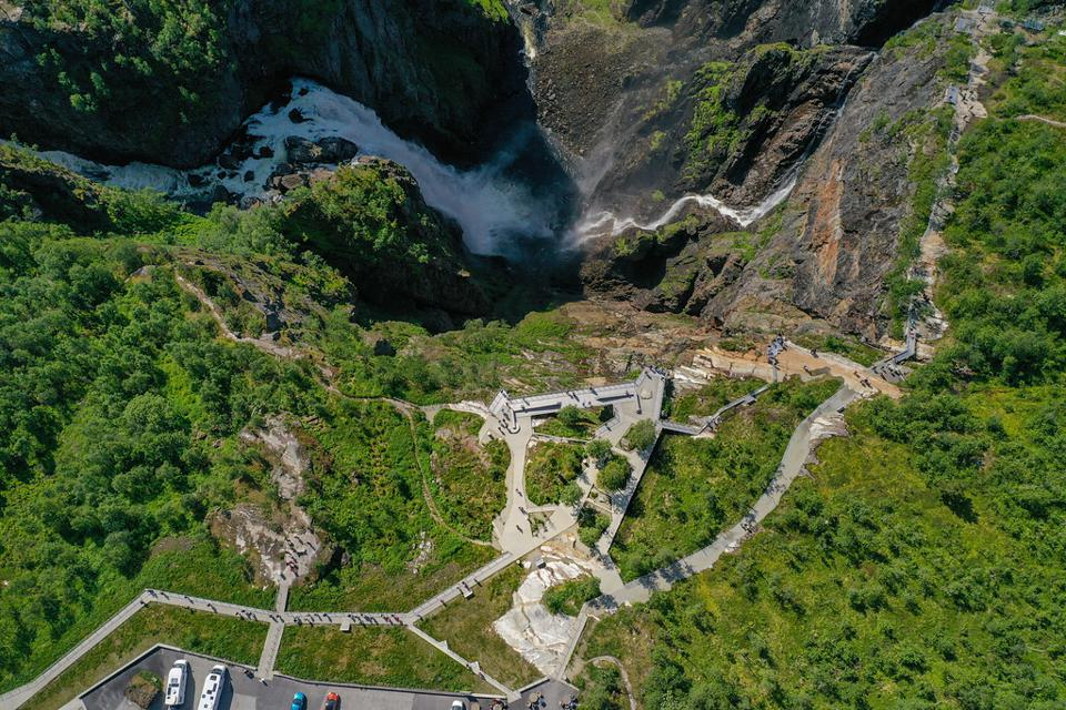 Phase one of the construction project at Vøringsfossen waterfall in Norway.