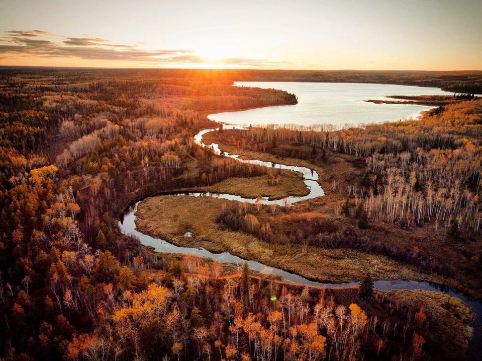 Waterhen Lake  Tourism Saskatchewan Canada fall foliage