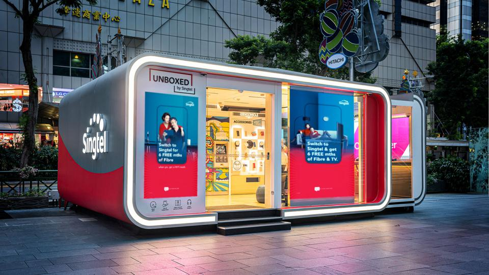 Singaporean telecoms company Singtel and its 'Unboxed' modular pop-up store that moves around the city, powered by 5G.