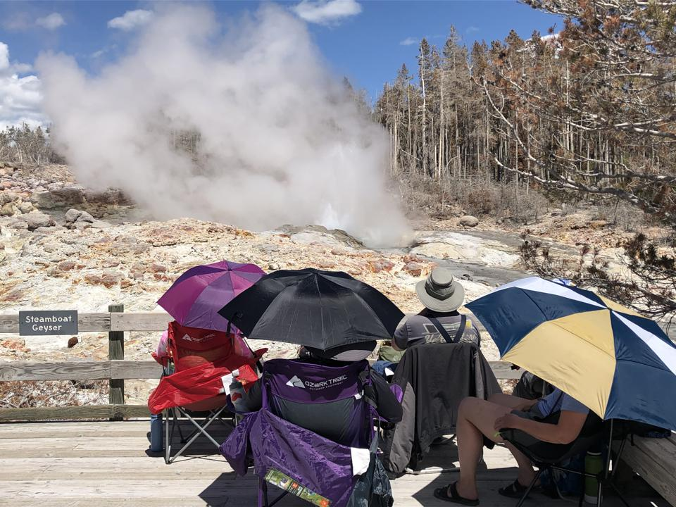 Spectators under umbrellas on folding chairs observe geyser at Yellowstone National Park.