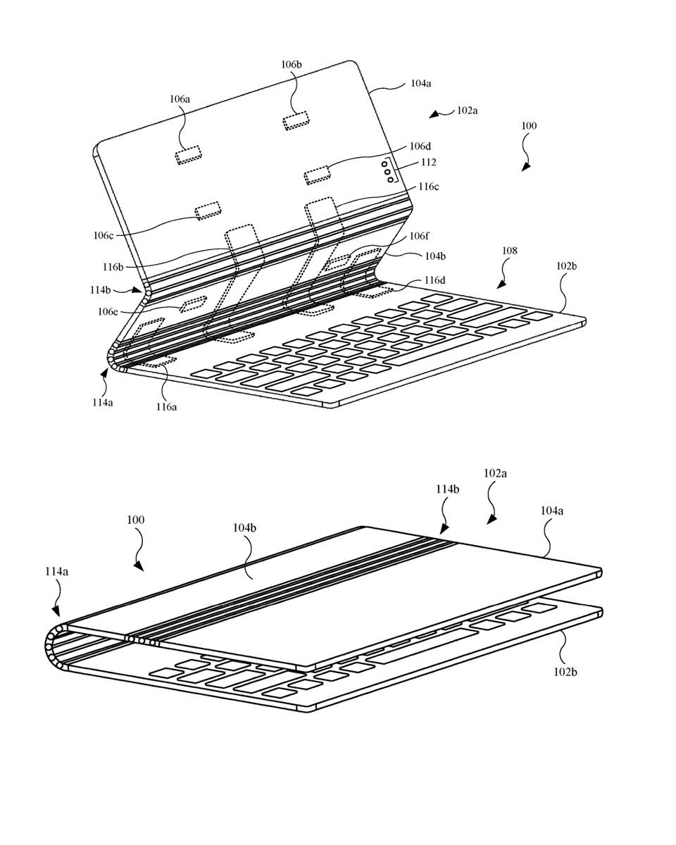 Apple's new hinge design, as seen in patent.