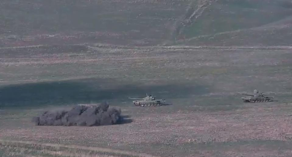 Video capture of a purportedly Azerbaijani T-72 tank exploding due to a mine or enemy fire