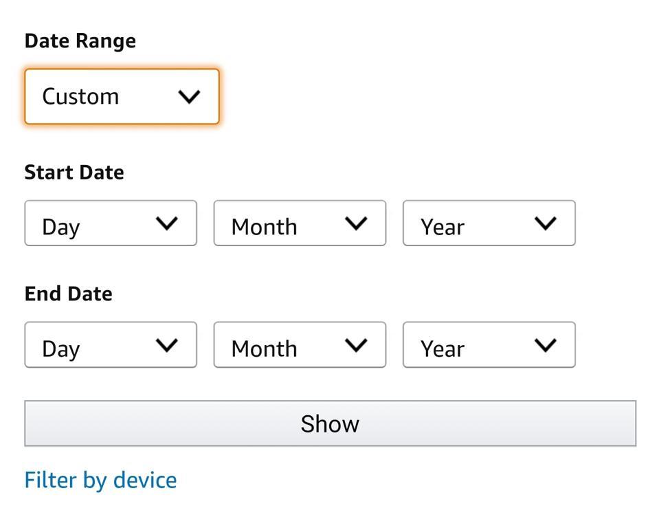 The custom date range data deletion configuration screen from the Amazon Alexa app