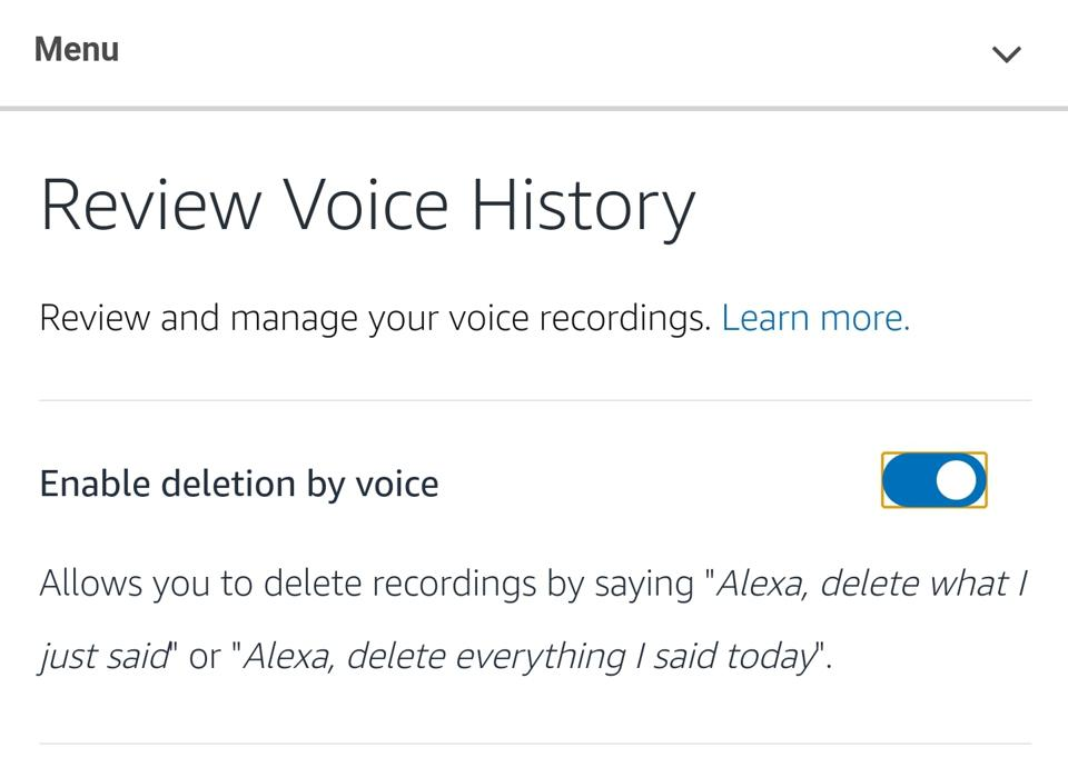 The enable deletion by voice settings screen from the Amazon Alexa app