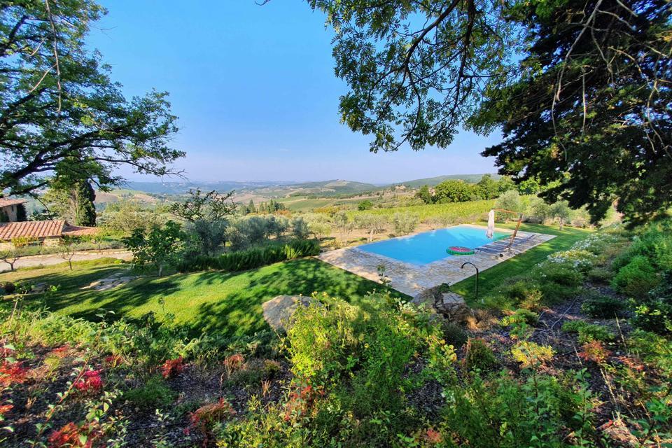 Pool at Renzo Marina farmhouse agriturismo Chianti winery Panzano Tuscany Italy