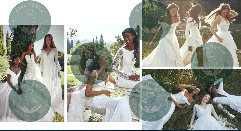 Several images of groups of brides in four different images representing the new eco-dress line at bridal Pronovias Group