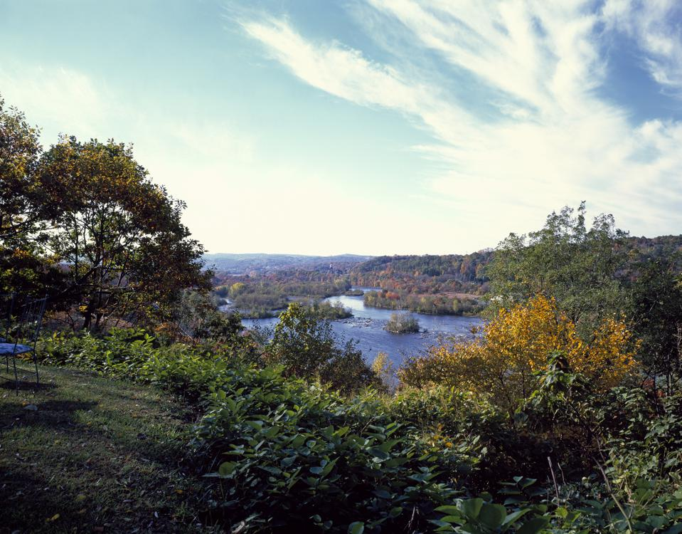 Hiker view of the Lehigh River from the Appalachian Trail, near Palmerton in northeast Pennsylvania