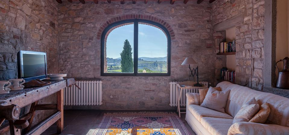 The farmhouse winery apartment accommodation at Il Palagio di Panzano in the Chianti countryside