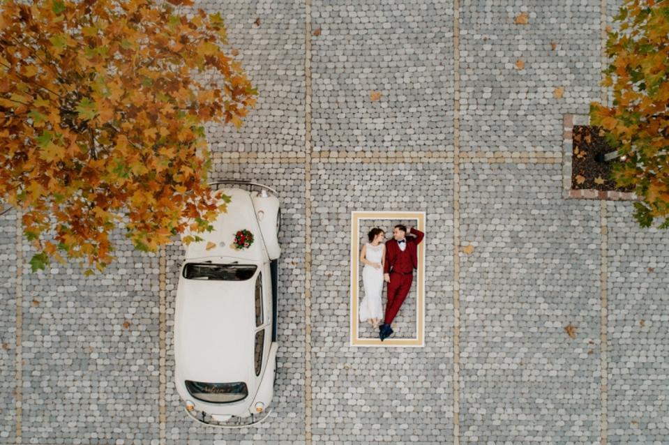 Wedding couple award winning photo from drone