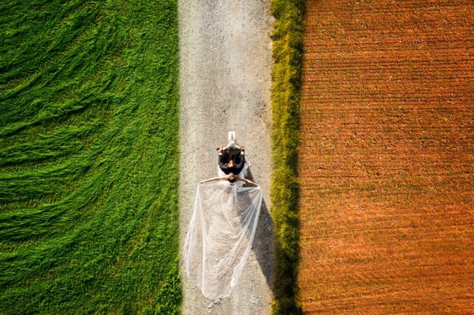 Prize winning photo of wedding couple walking between fields taken with drone.