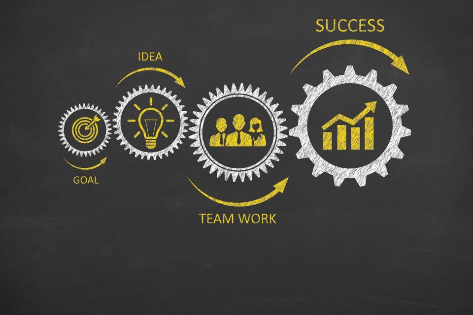 Success Concept Gear on Chalkboard Background, venture capital, entrepreneur