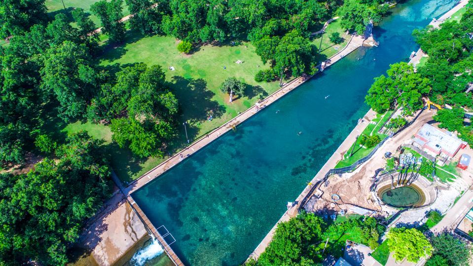 Barton Springs Natural Swimming Pool in Austin, Texas.