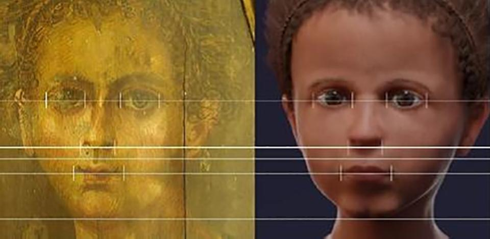 Biometric comparison of the portrait and the reconstructed face