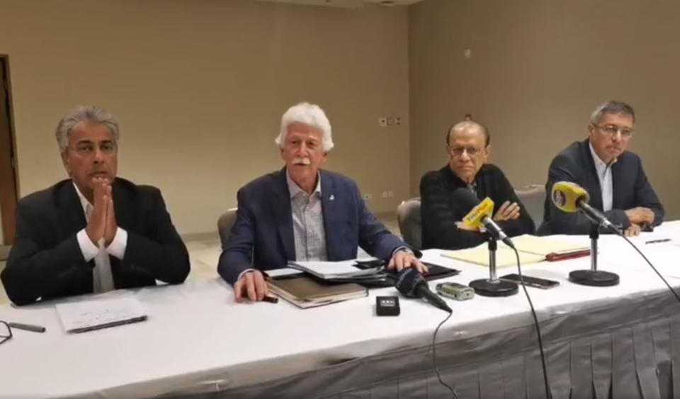 19 Sep 2020: an unusual joint press conference by leaders of all major opposition political parties (L-R) Dr Arvin Boolell, Leader of Opposition, Paul Berenger (MMM), Dr Navin Ramgoolam (Labour), Xavier Duval (PMSD).