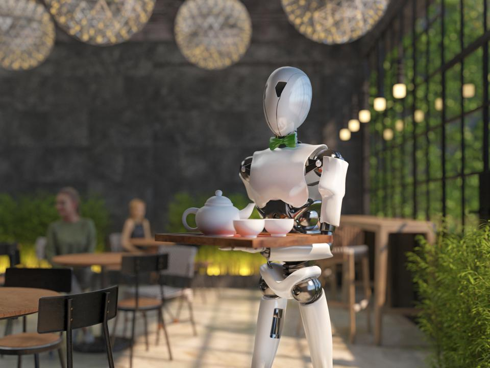 A humanoid robot waiter carries a tray of food and drinks in a restaurant. Artificial intelligence replaces maintenance staff. The concept of the future. 3D rendering