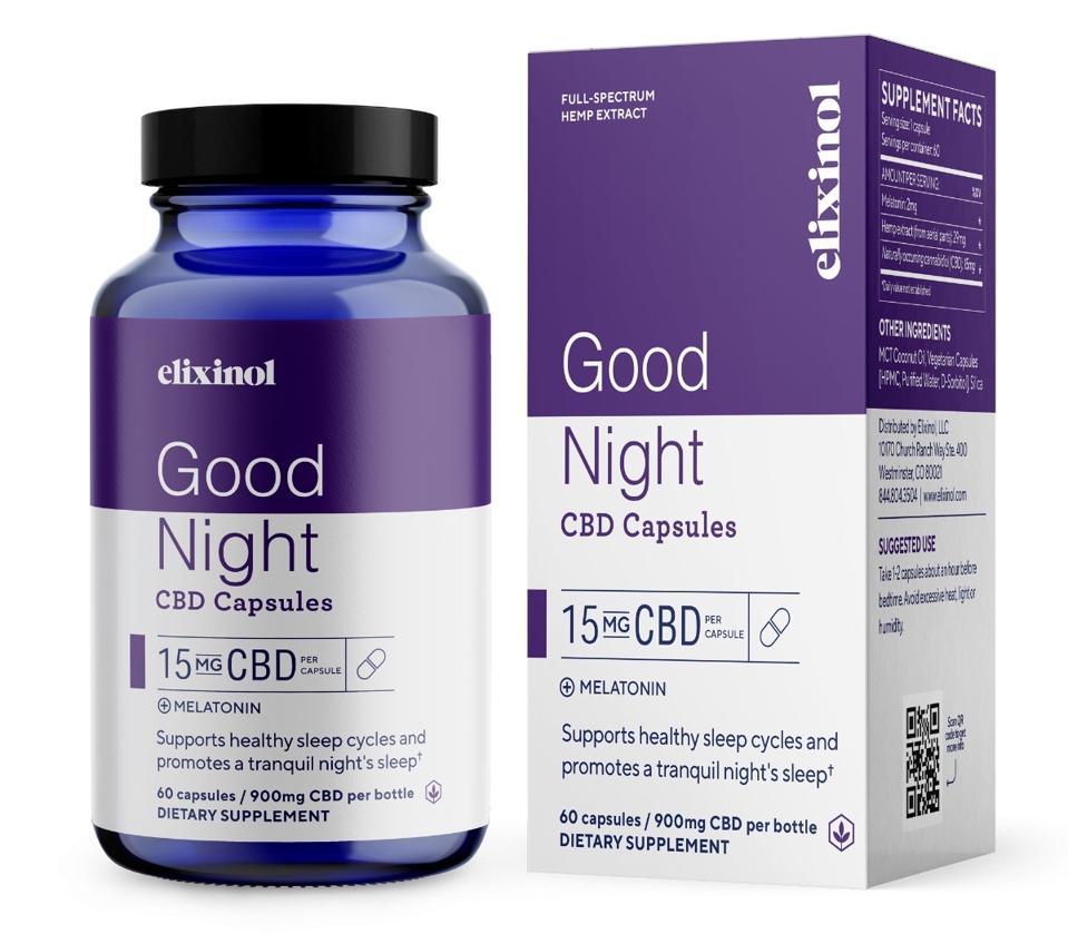 Elixinol Good Night Capsules cbd melatonin natural
