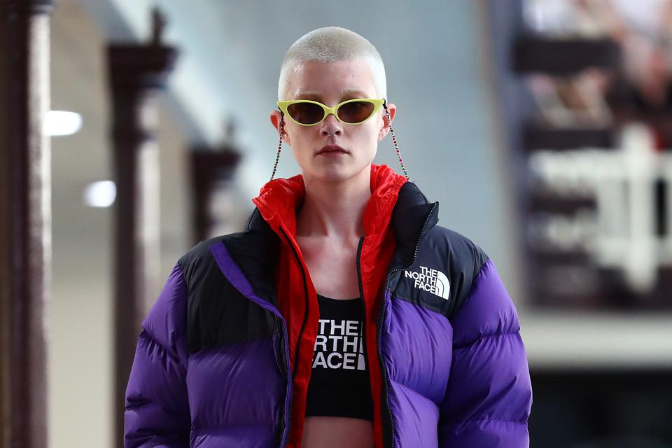 A model showcases The North Face during the Poolside Runway at Melbourne Fashion Week 2019