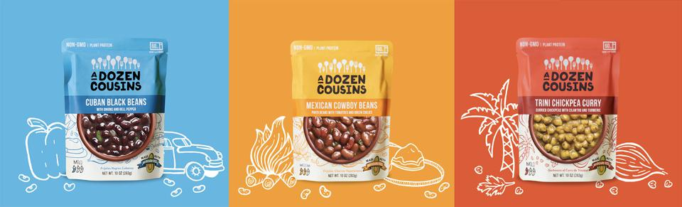 A Dozen Cousins makes ready-to-eat pouches of beans laced with the flavors of the Southern US and South America.