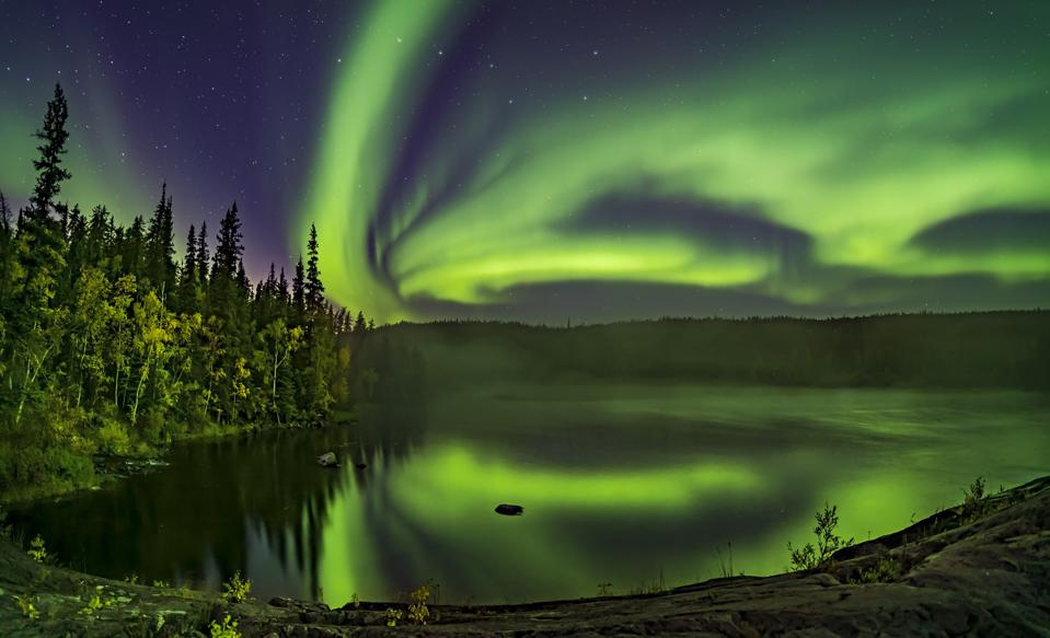 The Northern Lights from near Yellowknife, Northwest Territories Canada, in 2019.