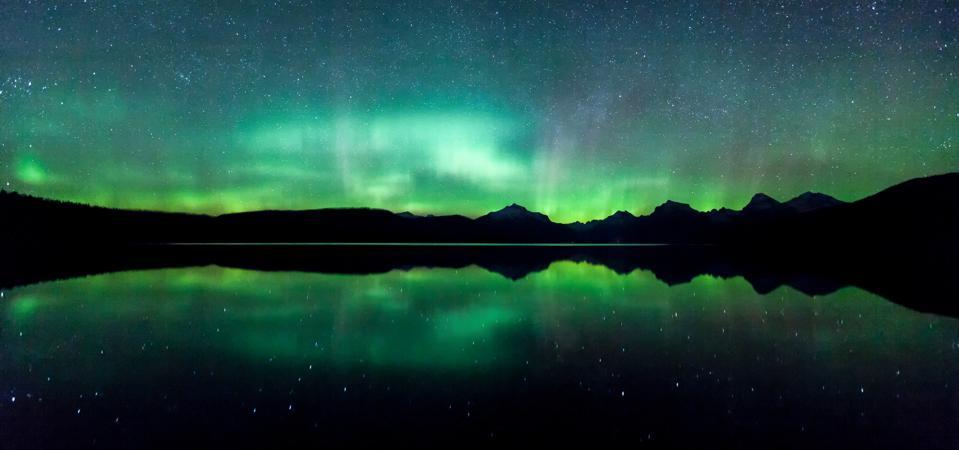 The aurora borealis from Glacier National Park, Montana.