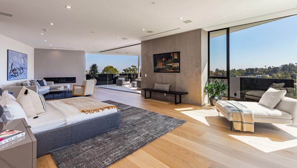 John Legend, Chrissy Teigen, Beverly Hills, contemporary, master bedroom, luxury real estate