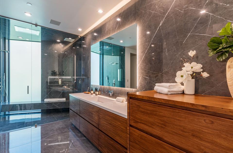 John Legend, Chrissy Teigen, Beverly Hills, contemporary, bathrooms, luxury real estate