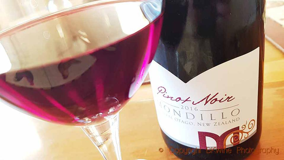 Pinot noir from Mondillo Wines in Bendigo, Central Otago, New Zealand, light in colour