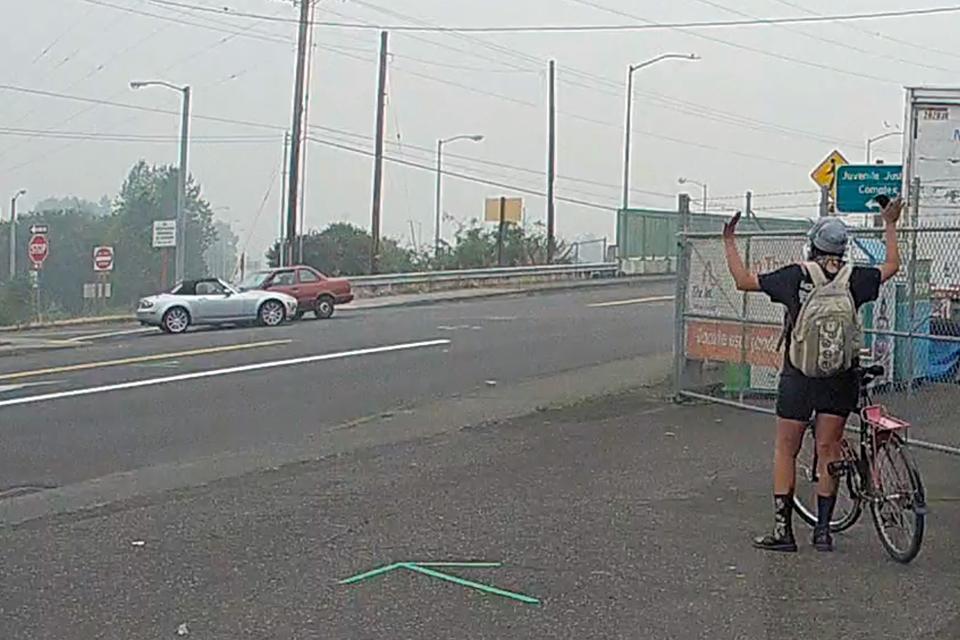 Dashcam image from Vantrue N4 front camera of a car crash.