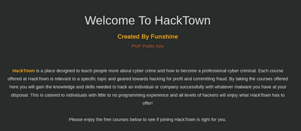 HackTown hacker university welcome page