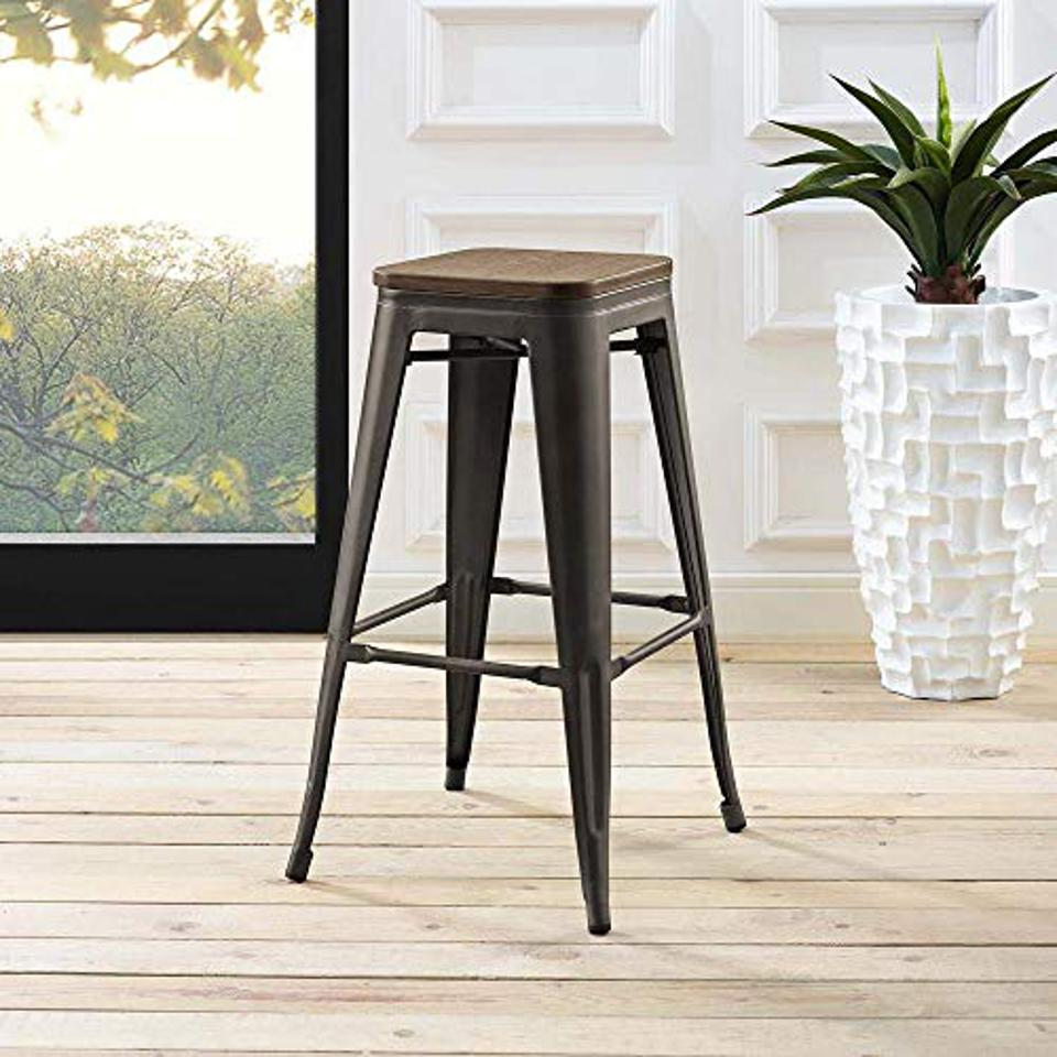 Modway Promenade Industrial Modern Aluminum Backless Bistro Bar Stool