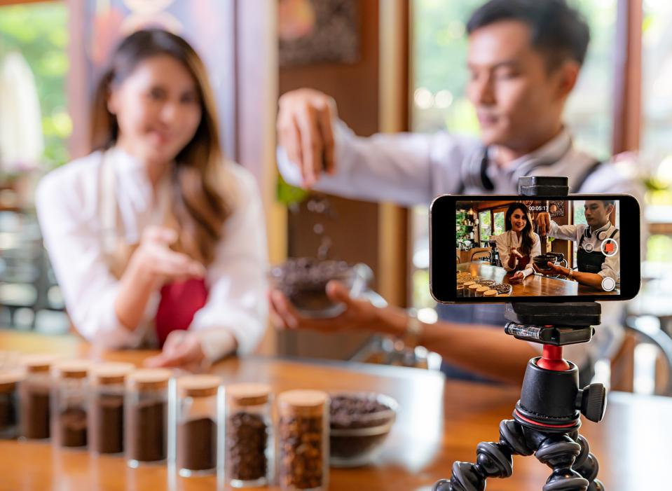 Live streaming and selling coffee