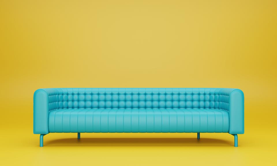 Empty Blue Chairs Against Yellow Background