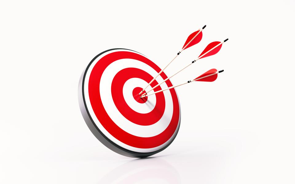 Red Dartboard and Arrows on White Background
