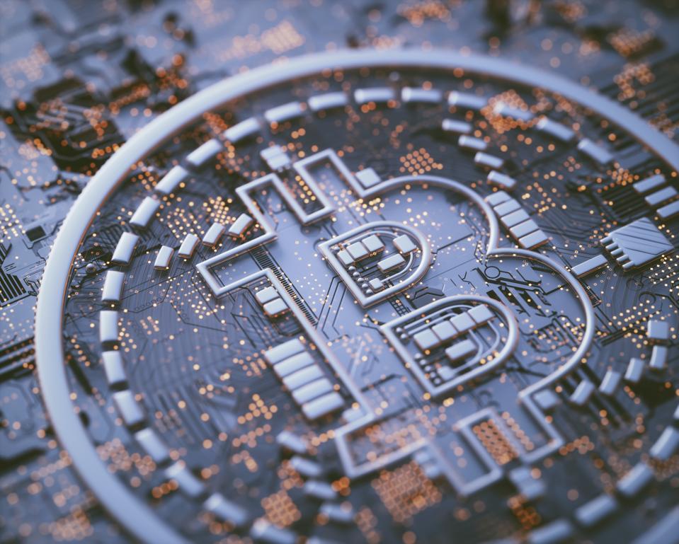 Bitcoin logo on circuit board, illustration