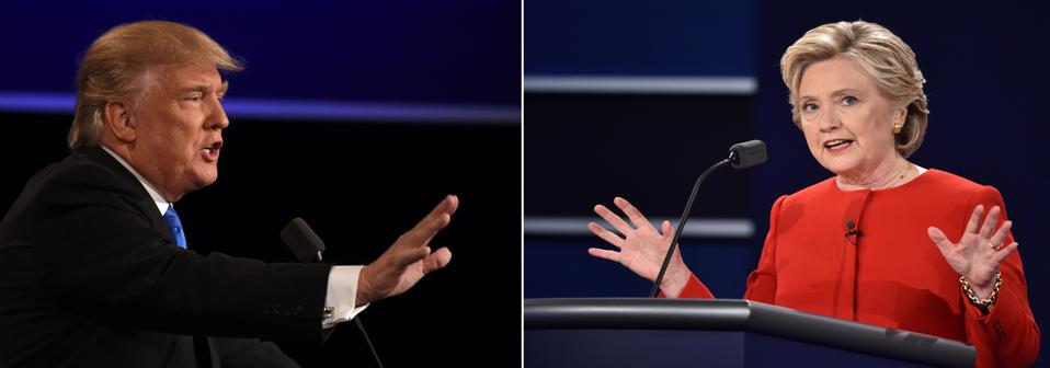 Hillary Clinton and Donald Trump at the first presidential debate at Hofstra University September 2016,