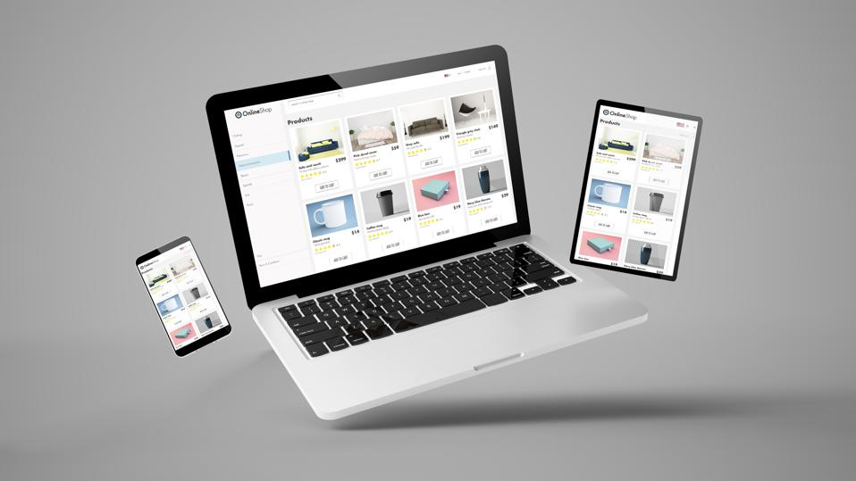 flying tablet, laptop and mobile phone showing online shop website