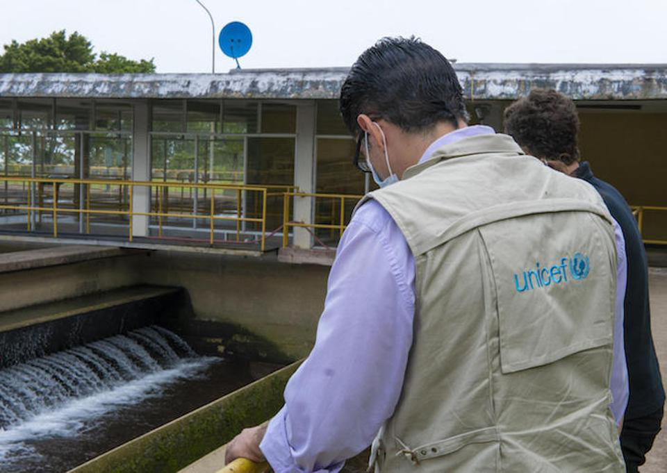 UNICEF workers inspect a water treatment plant in Táchira, Venezuela in June 2020. The state's main plant provides drinking water to 13 municipalities in Táchira state.