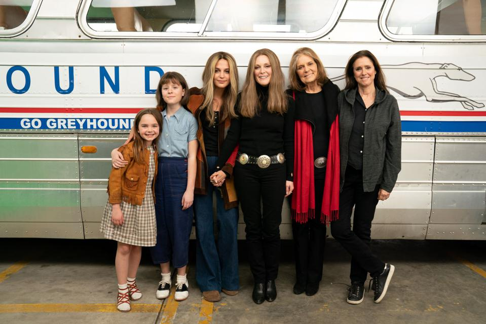 Behind the scenes in the film The Glorias about Gloria Steinem's life.