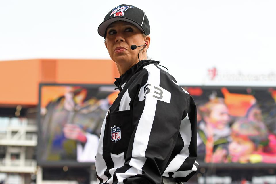 CLEVELAND, OH - NOVEMBER 10, 2019: Down judge Sarah Thomas #53 on the field prior to a game between the Buffalo Bills and Cleveland Browns on November 10, 2019 at FirstEnergy Stadium in Cleveland, Ohio. Cleveland won 19-16. (Photo by: 2019 Nick Cammett/Diamond Images via Getty Images)