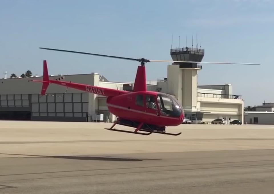 The prototype ″EcoMax″ an electric-powered version of the Robinson R44 light helicopter.