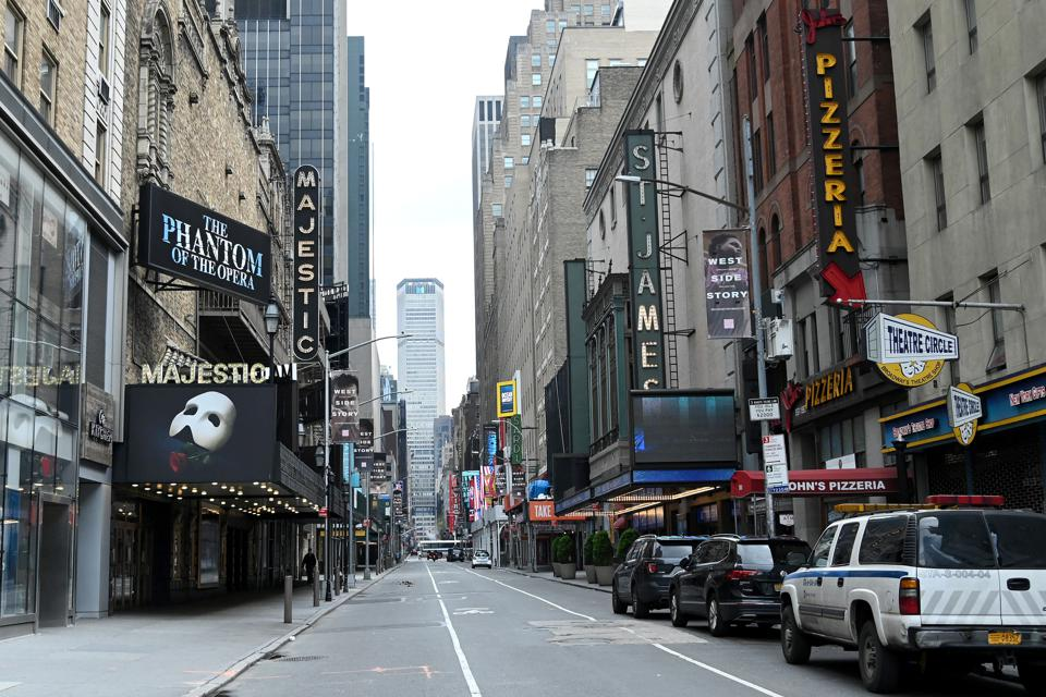 Atmosphere outside the Majestic Theatre on April 08, 2020