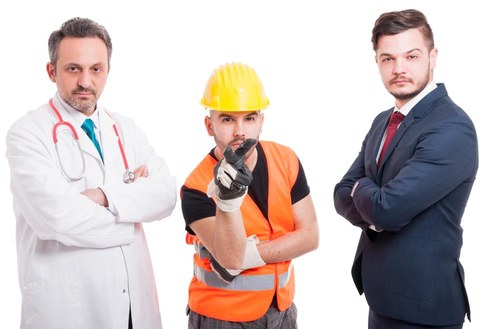 A picture of a doctor, engineer and lawyer.