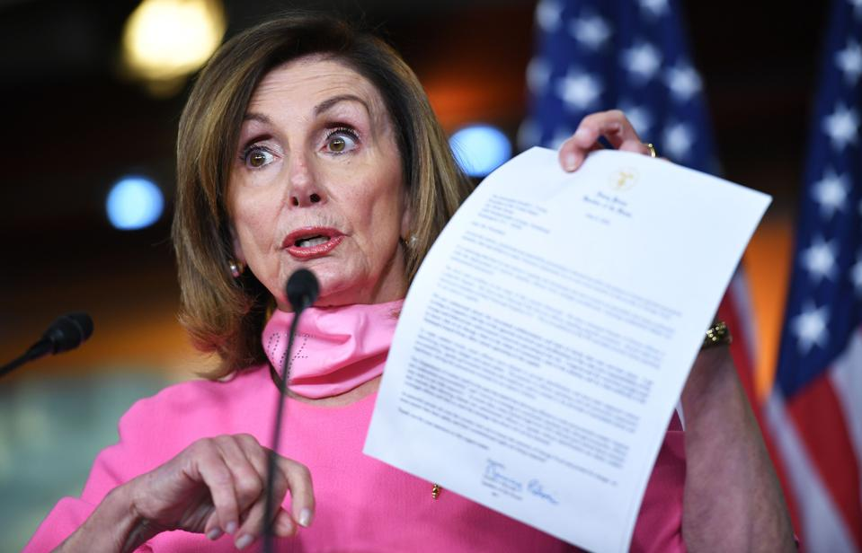 House Speaker Nancy Pelosi unveiled a $2.2 trillion updated Heroes Act that includes $1,200 second stimulus checks, a renewed $600 federal unemployment benefit, and over $400 billion in aid to states and cities. She is set to resume negotiations with Steve Mnuchin over the next coronavirus stimulus package Tuesday morning.