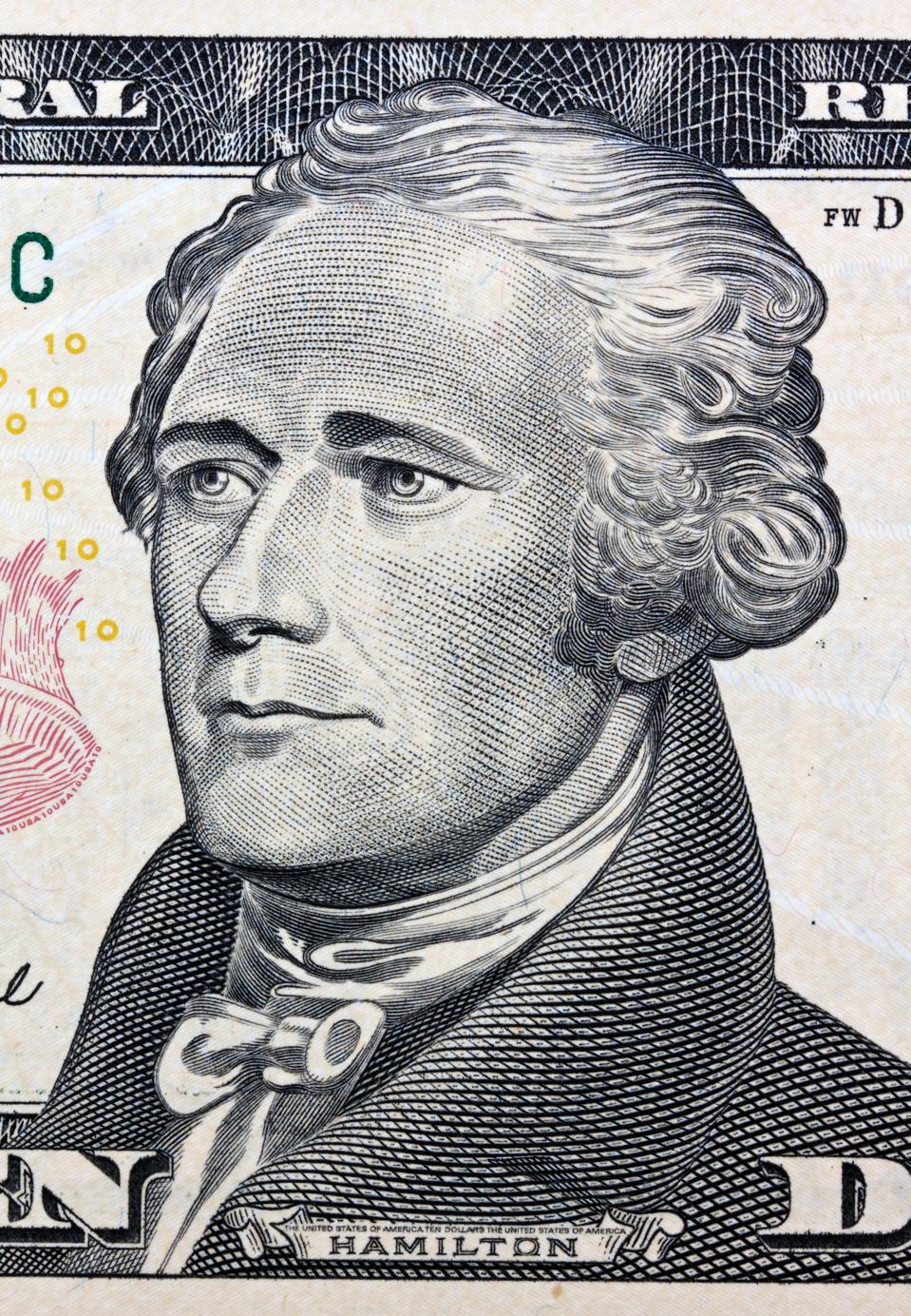 USA - Alexander Hamilton portrait printed on the 10 Dollar banknote